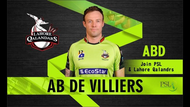 PSL 2019 player draft: AB de Villiers joins Lahore Qalandars