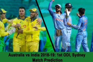 Australia vs India 2018-19 1st ODI, Sydney - Match Prediction