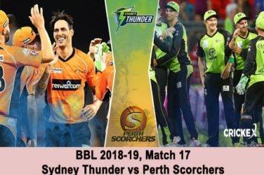 Sydney Thunder vs Perth Scorchers