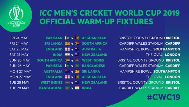 ICC WC 2019 Warm-up fixtures