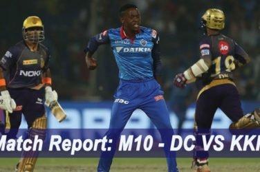 IPL 2019 Match Report M10 - DC VS KKR