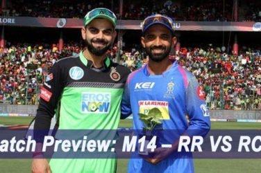 IPL 2019 Match Preview: M14 – RR VS RCB