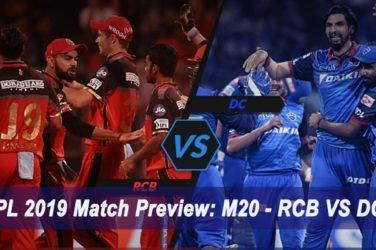 IPL 2019 Match Preview M20 - RCB VS DC