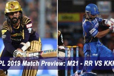 IPL 2019 Match Preview M21 - RR VS KKR