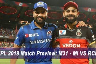 IPL 2019 Match Preview M31 - MI VS RCB