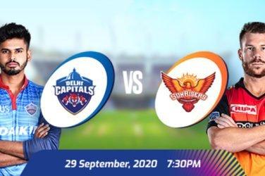 IPL 2020 DC vs SRH Prediction