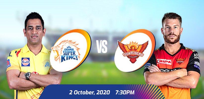 IPL 2020 CSK vs SRH Prediction