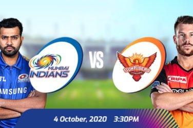 IPL 2020 MI vs SRH Prediction