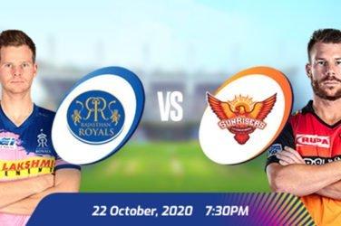IPL 2020 RR VS SRH Prediction