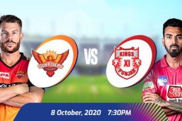 IPL 2020 SRH VS KXIP Prediction